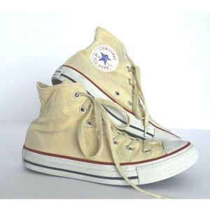 Converse tan yellow canvas high top sneaker shoes